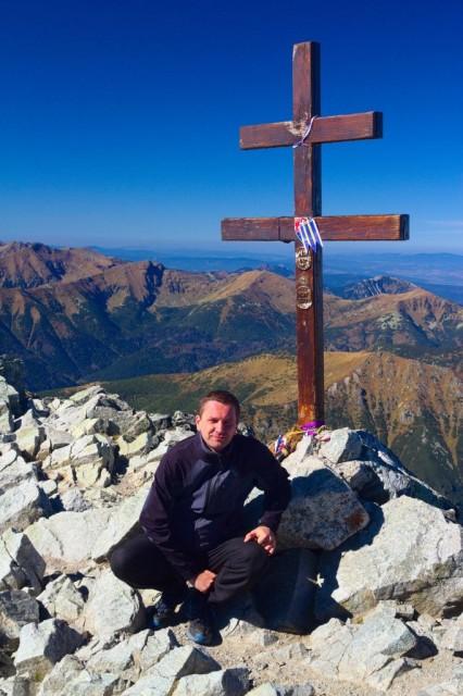 Jiří Bolacký na vrcholu Kriváň (2494 m n. m.)